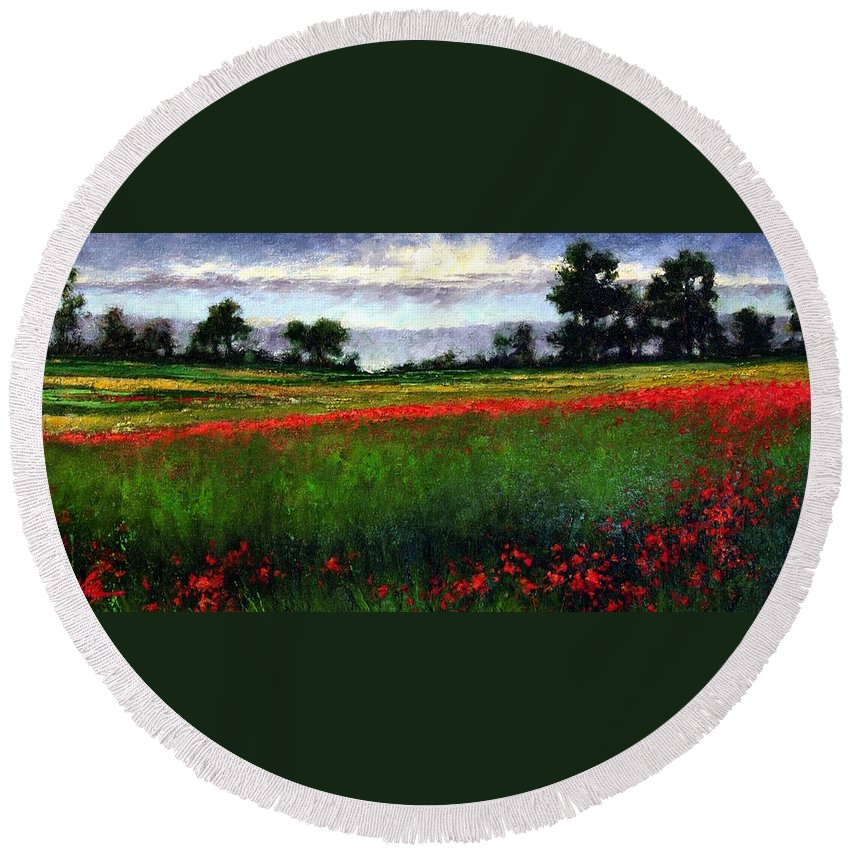 Landscape Round Beach Towel featuring the painting Colorburst by Jim Gola