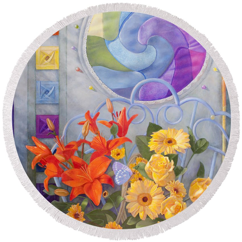 Quilt Round Beach Towel featuring the painting Colordance Of Summer by Nancy Lee Moran