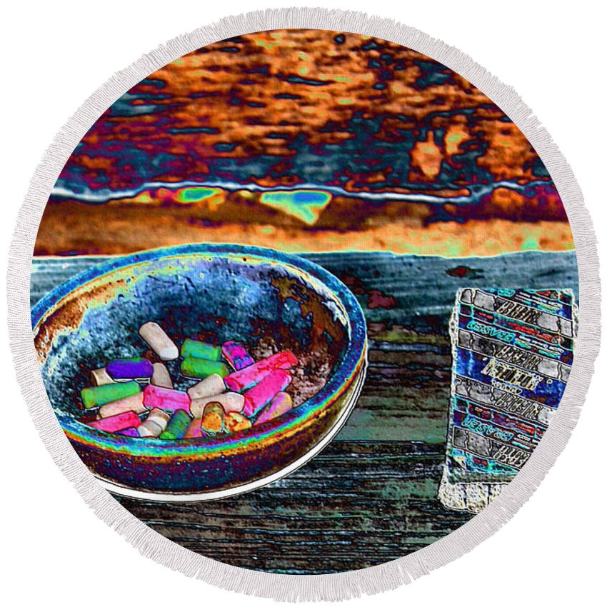 Eraser Round Beach Towel featuring the photograph Colored Chalk by Karen Wagner
