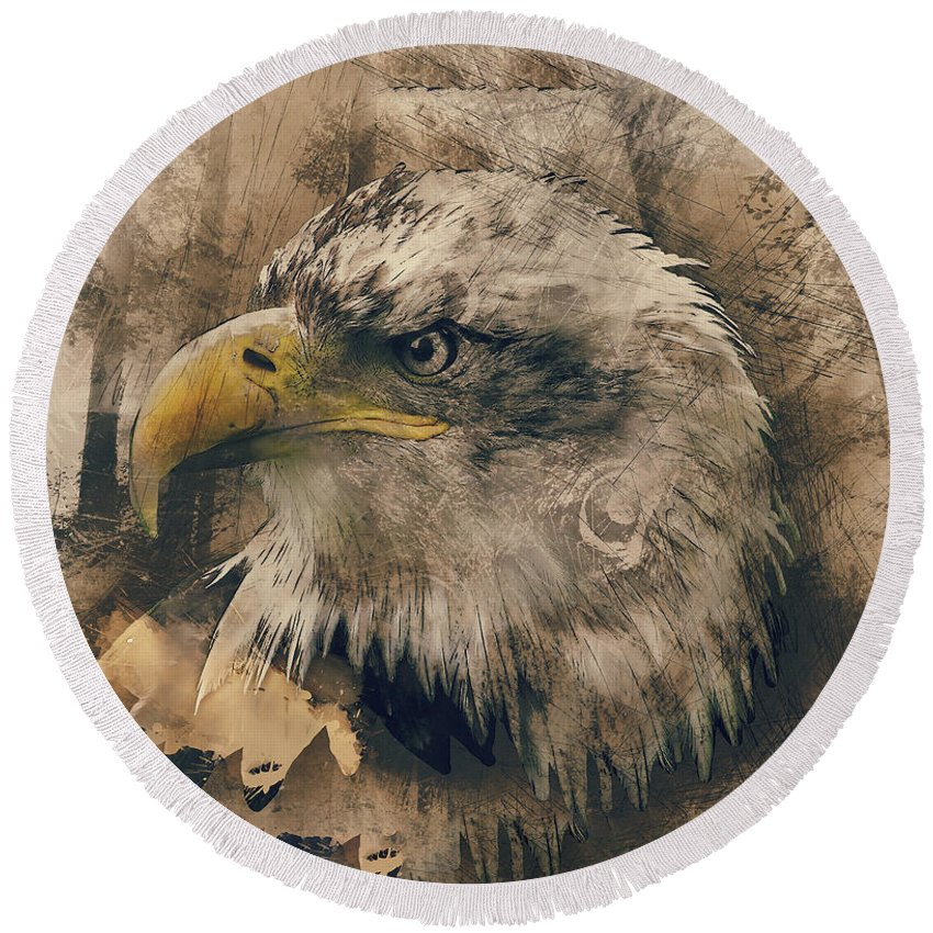 Animal Round Beach Towel featuring the painting Colored Etching Of American Bald Eagle by Elaine Plesser