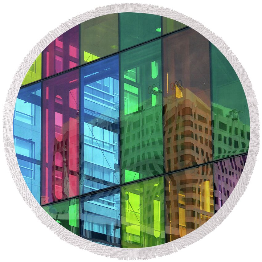 Montreal Round Beach Towel featuring the photograph Colored Glass 10 by Randall Weidner