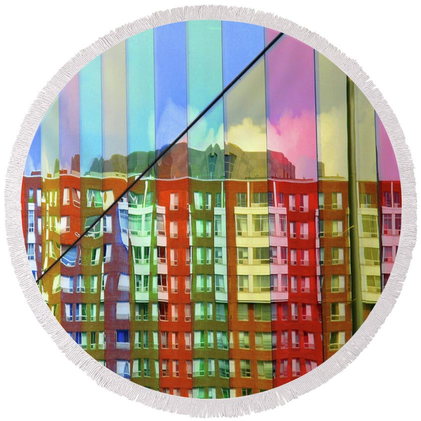 Montreal Round Beach Towel featuring the photograph Colored Glass 6 by Randall Weidner