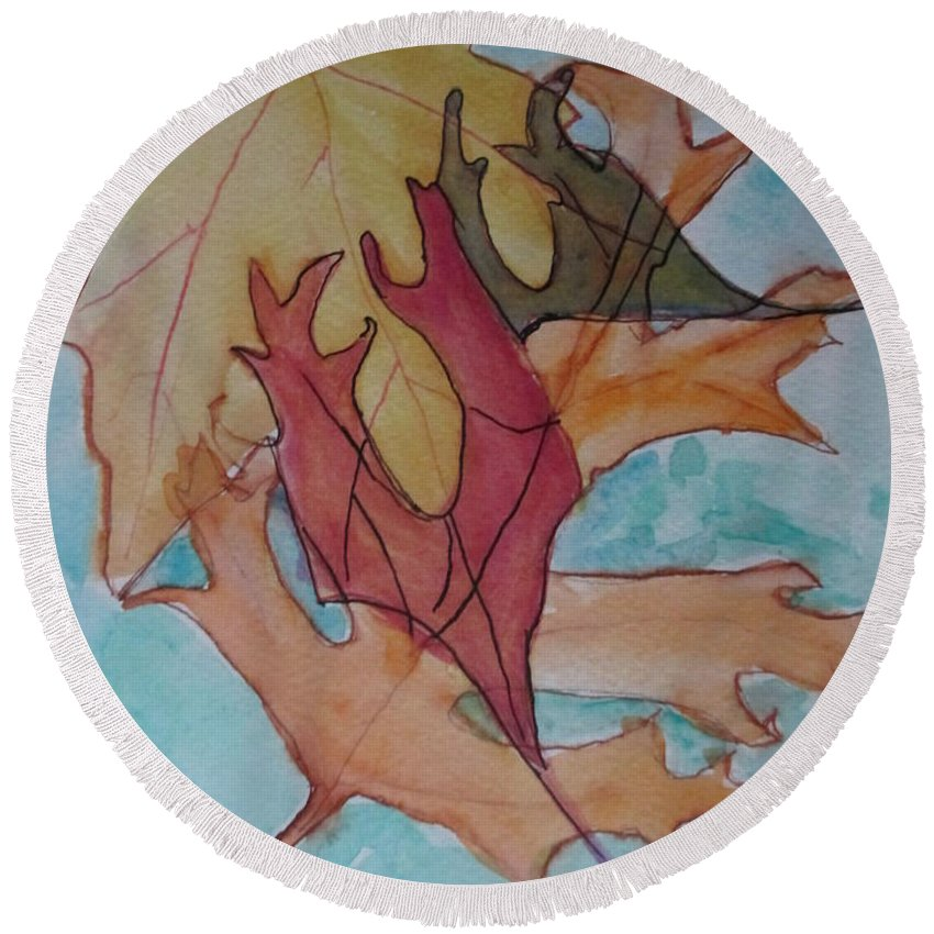 Leaf Round Beach Towel featuring the painting Dancing Leaves by Katherine Berlin