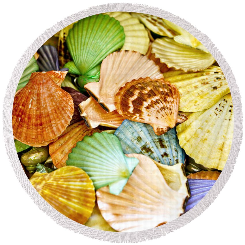 Shell Round Beach Towel featuring the photograph Colored Shells by Marilyn Hunt