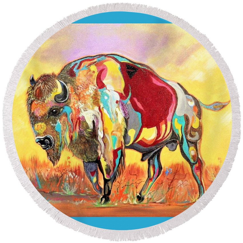 Buffalo Round Beach Towel featuring the painting coloredd Buffalo by Bill Whidden