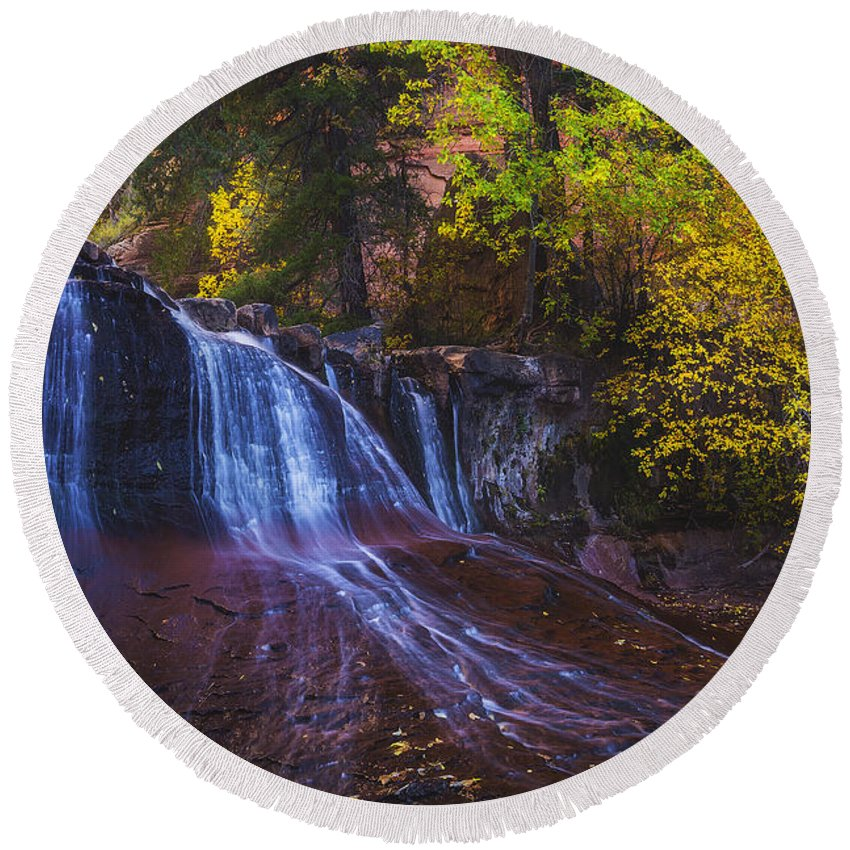 Zion Round Beach Towel featuring the photograph Colorfalls by Peter Coskun