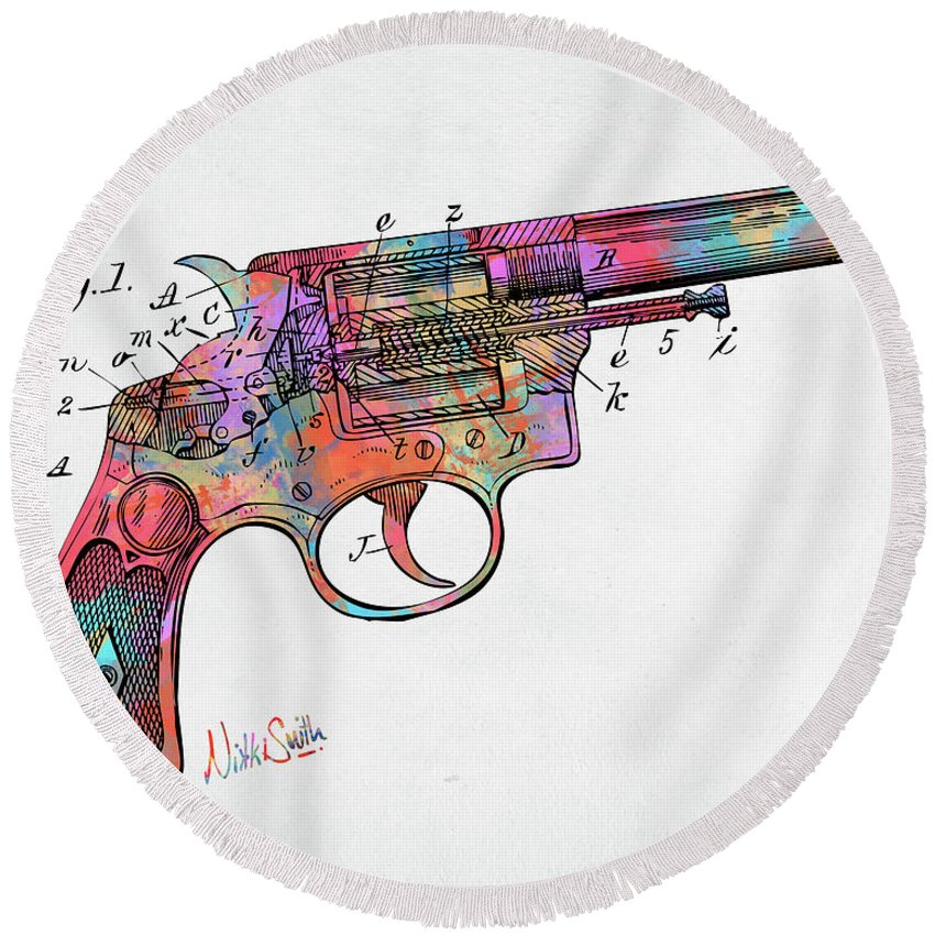 Wesson Round Beach Towel featuring the digital art Colorful 1896 Wesson Revolver Patent by Nikki Marie Smith
