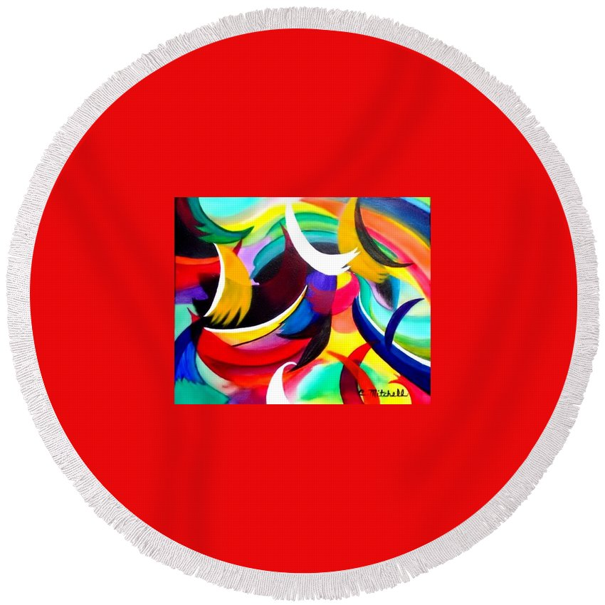 Color Round Beach Towel featuring the painting Colorful Abstract Art by Carole Mitchell
