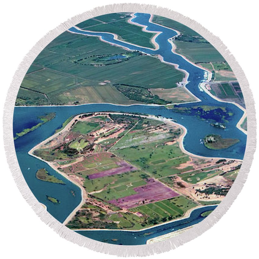 Stockton Round Beach Towel featuring the photograph Colorful Aerial Of Commercial Farmland In Stockton - Medford Island - San Joaquin County, California by David Oppenheimer