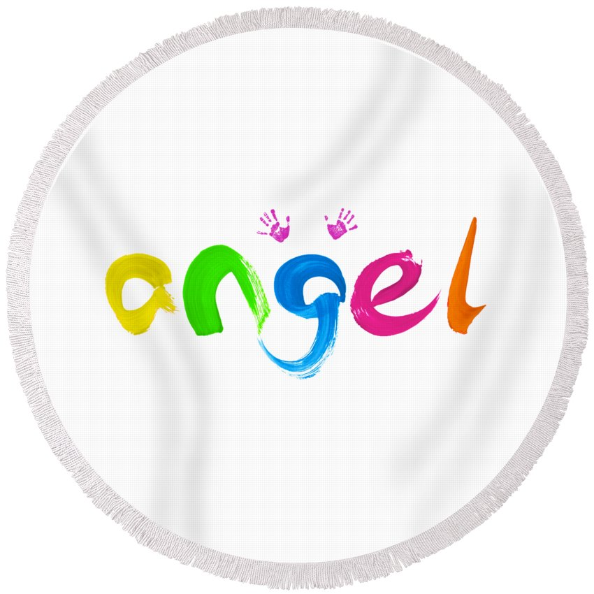 Angel Round Beach Towel featuring the painting Colorful Angel by Tim Gainey