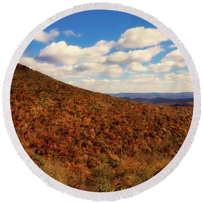 West Virginia Round Beach Towel featuring the photograph Colorful Autumn Panorama - West Virginia by Mountain Dreams