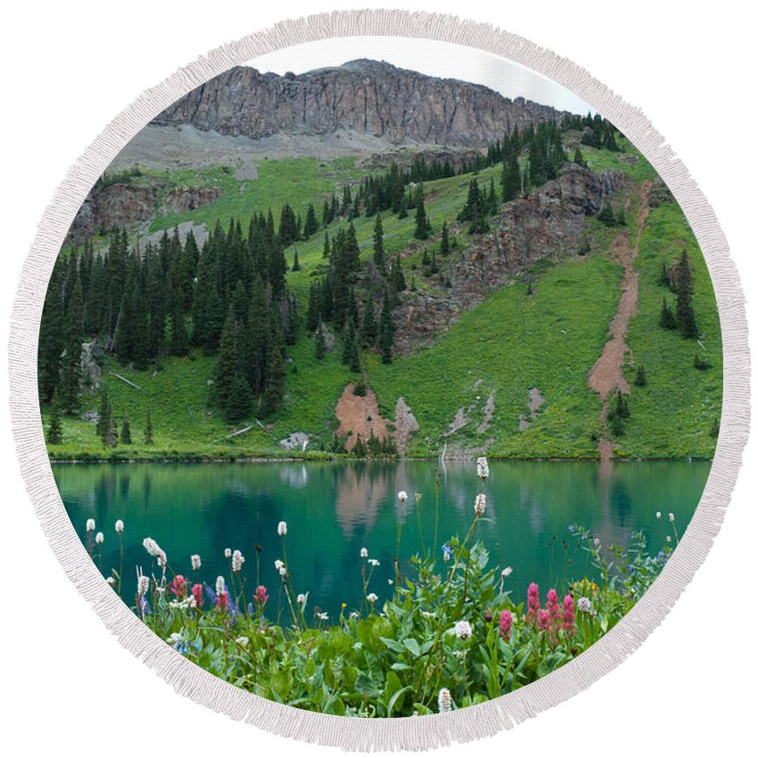 Blue Lake Round Beach Towel featuring the photograph Colorful Blue Lakes Landscape by Cascade Colors