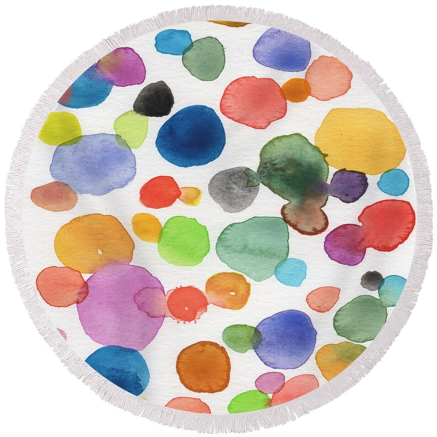 Abstract Watercolor Art Round Beach Towel featuring the painting Colorful Bubbles by Linda Woods