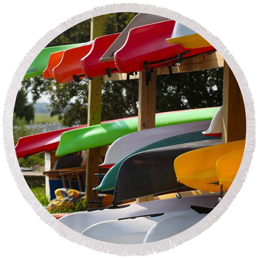 Canoes Round Beach Towel featuring the photograph Colorful Canoes by Nadine Rippelmeyer