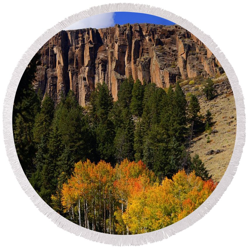 Fall Colors Round Beach Towel featuring the photograph Colorful Canyon by Marty Koch