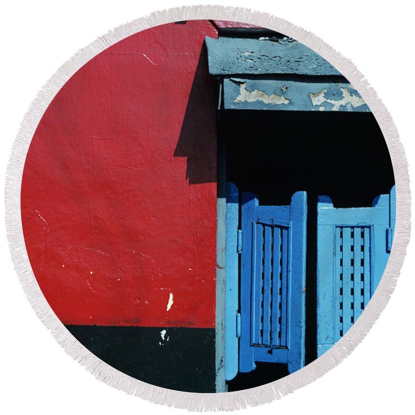 Architecture Round Beach Towel featuring the photograph Colorful Caribbean Door by Larry Dale Gordon - Printscapes