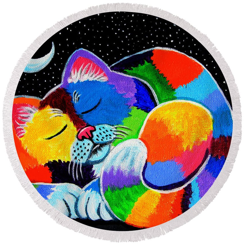 Cat Art Round Beach Towel featuring the painting Colorful Cat In The Moonlight by Nick Gustafson