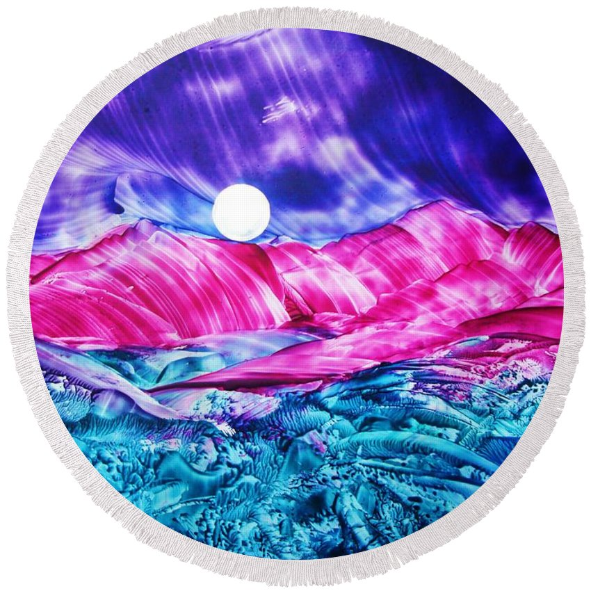 Bold Round Beach Towel featuring the print Colorful Desert by Melinda Etzold