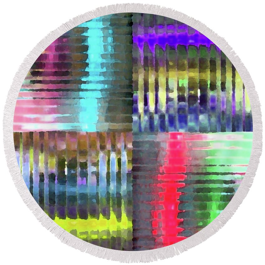 Plexiglass Round Beach Towel featuring the mixed media Colorful Distortions by Maria Arango