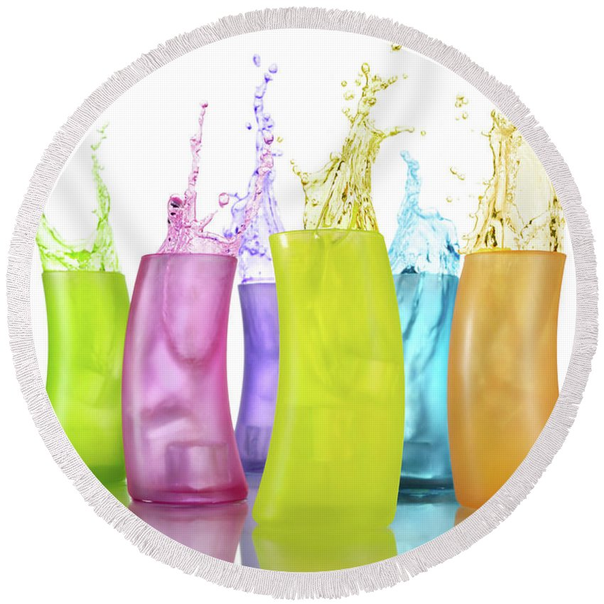 Colors Round Beach Towel featuring the photograph Colorful Drink Splashing From Glasses by Maxim Images Prints