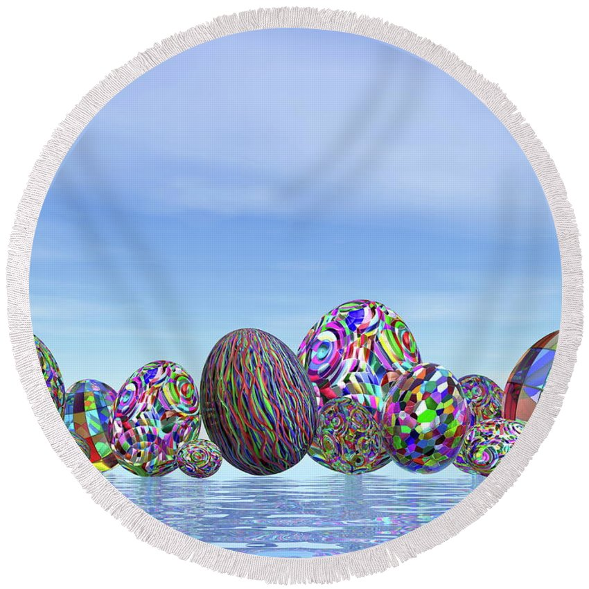 Holiday Round Beach Towel featuring the digital art Colorful Eggs For Easter - 3d Render by Elenarts - Elena Duvernay Digital Art