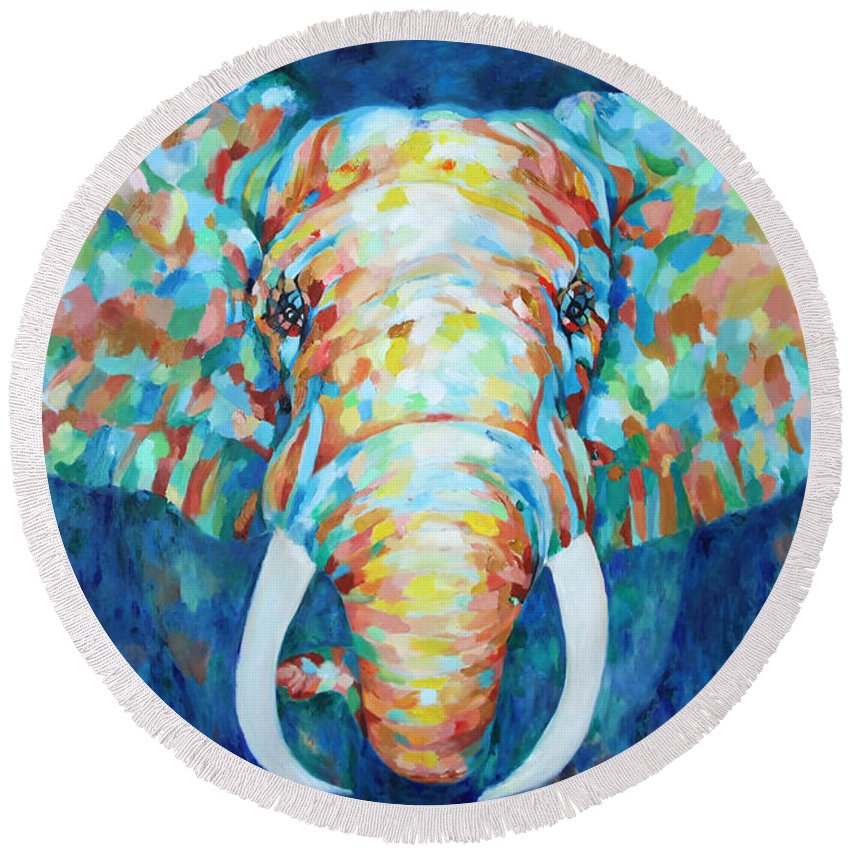 Elephant Round Beach Towel featuring the painting Colorful Elephant by Portraits By NC