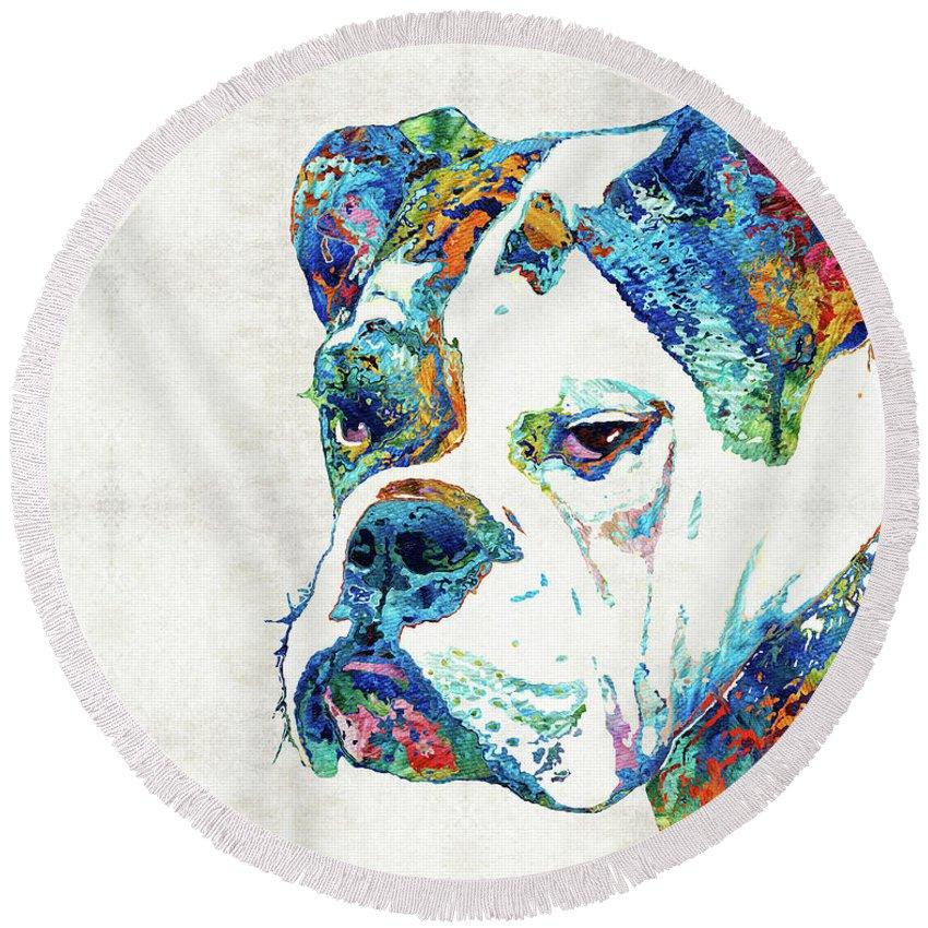 Bulldog Round Beach Towel featuring the painting Colorful English Bulldog Art By Sharon Cummings by Sharon Cummings