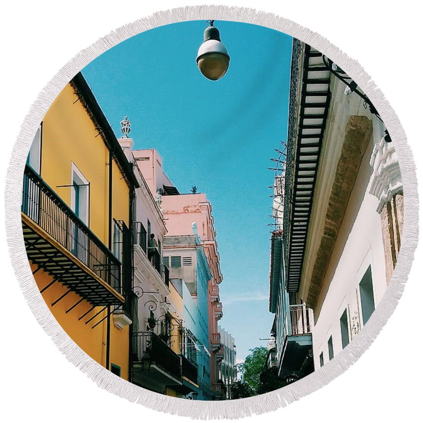 Habana Veja Round Beach Towel featuring the photograph Colorful Facades by Eloviano Maya