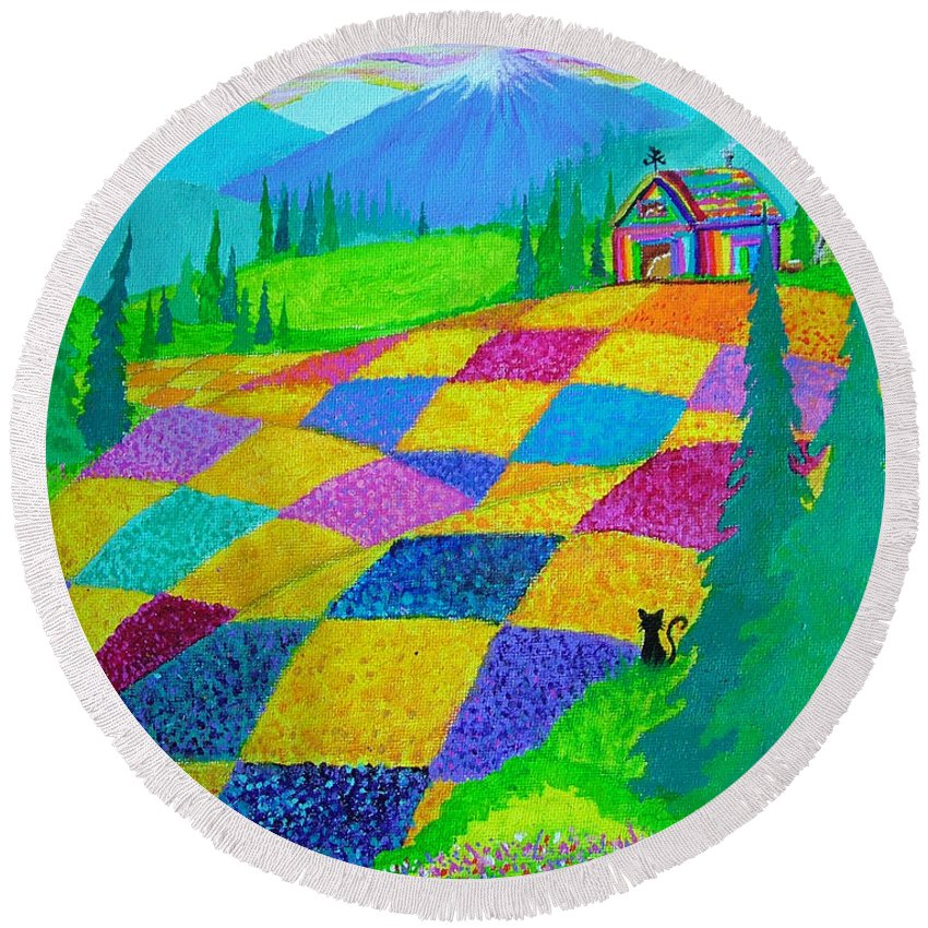 Colorful Fields Round Beach Towel featuring the painting Colorful Fields by Nick Gustafson