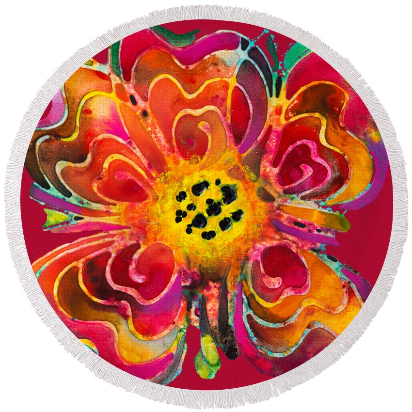 Colorful Round Beach Towel featuring the painting Colorful Flower Art - Summer Love By Sharon Cummings by Sharon Cummings