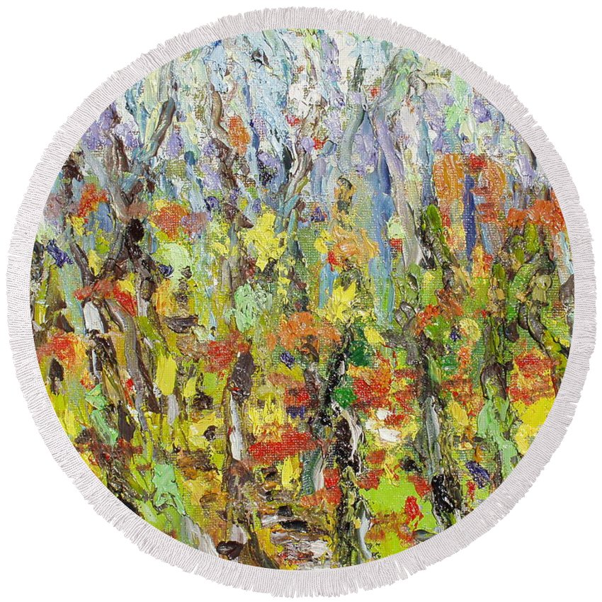 Autumn Abstract Paintings Round Beach Towel featuring the painting Colorful Forest by Seon-Jeong Kim