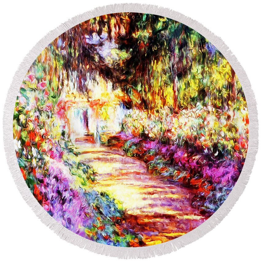 Colors Round Beach Towel featuring the painting Colorful Garden by Munir Alawi