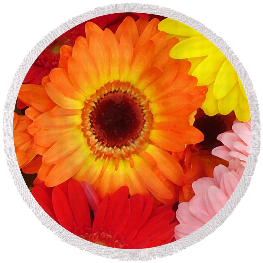 Gerber Daisy Round Beach Towel featuring the painting Colorful Gerber Daisies by Amy Vangsgard