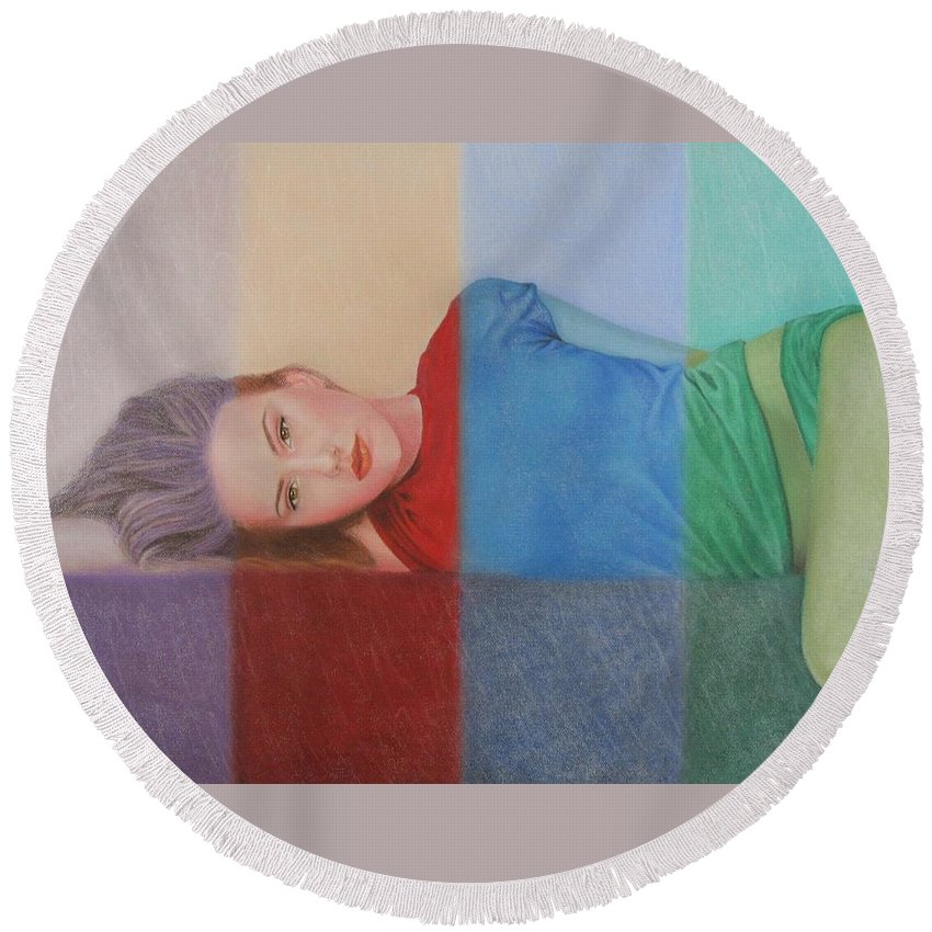 Woman Round Beach Towel featuring the painting Colorful Girl by Lynet McDonald