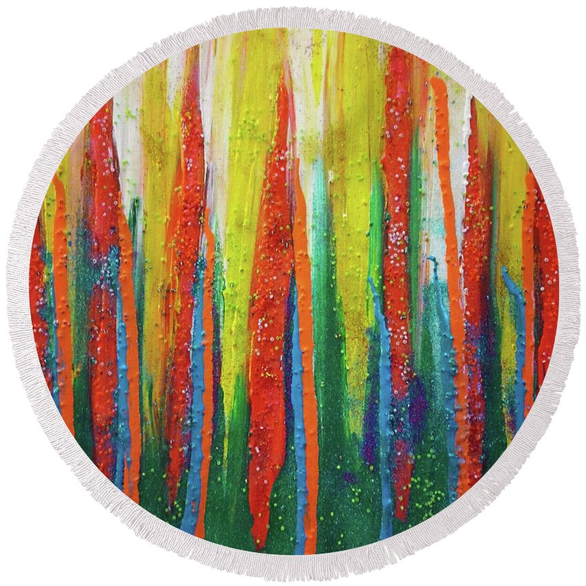 Painting Round Beach Towel featuring the painting Colorful Grace by Maria Rom