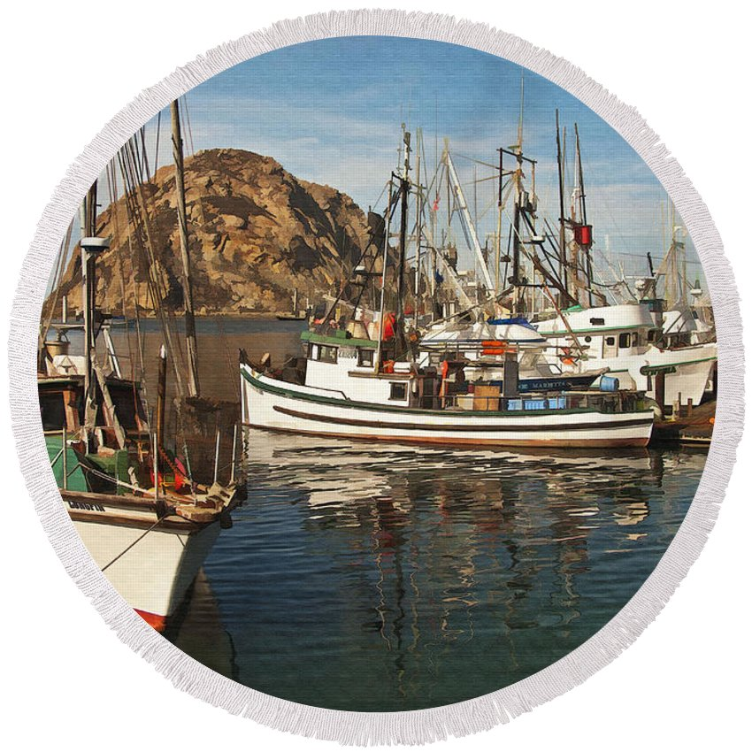 Morro Bay Round Beach Towel featuring the digital art Colorful Harbor by Sharon Foster