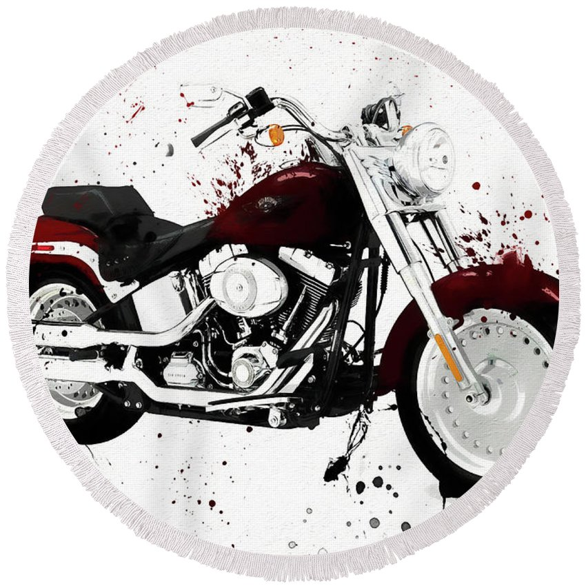 Colorful Harley Davidson Paint Splatter Round Beach Towel featuring the painting Colorful Harley Davidson Paint Splatter by Dan Sproul