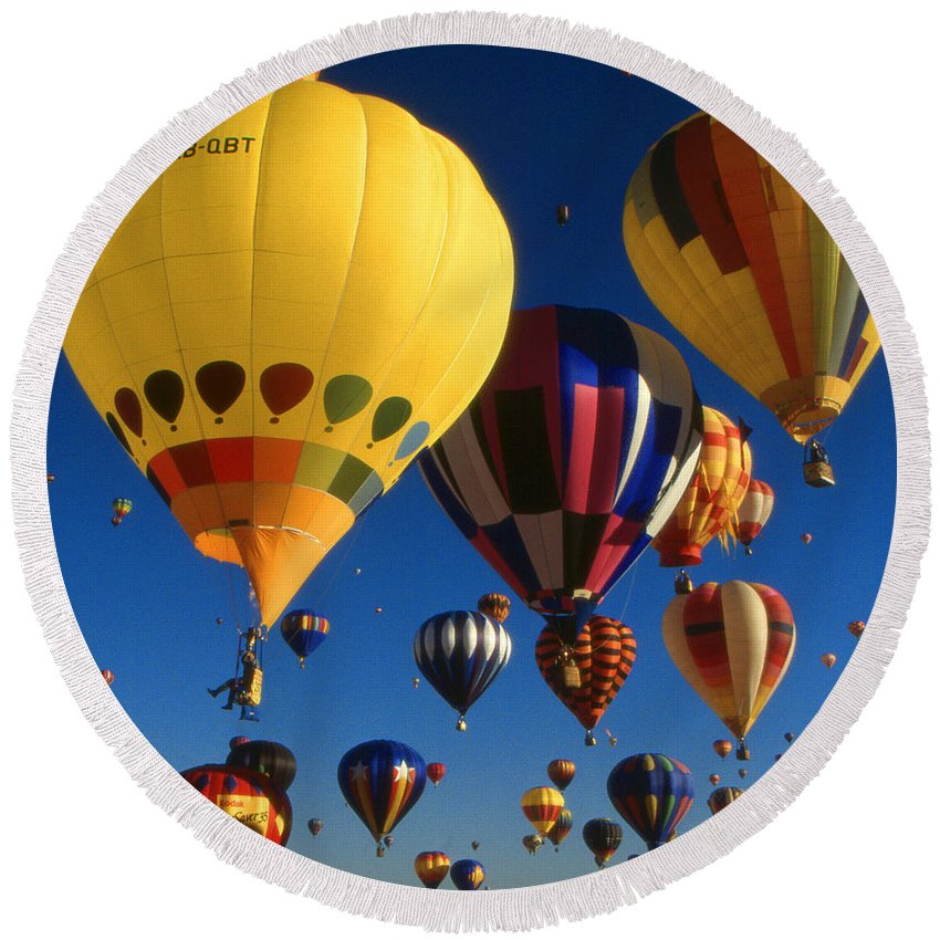 Balloons Round Beach Towel featuring the photograph Colorful Hot Air Balloons - Mass Ascension Photo by Peter Potter