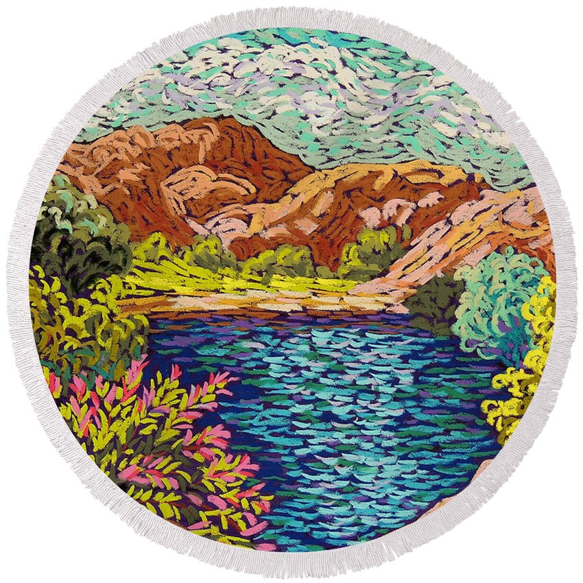 Landscape Round Beach Towel featuring the pastel Colorful Hueco Tanks by Candy Mayer