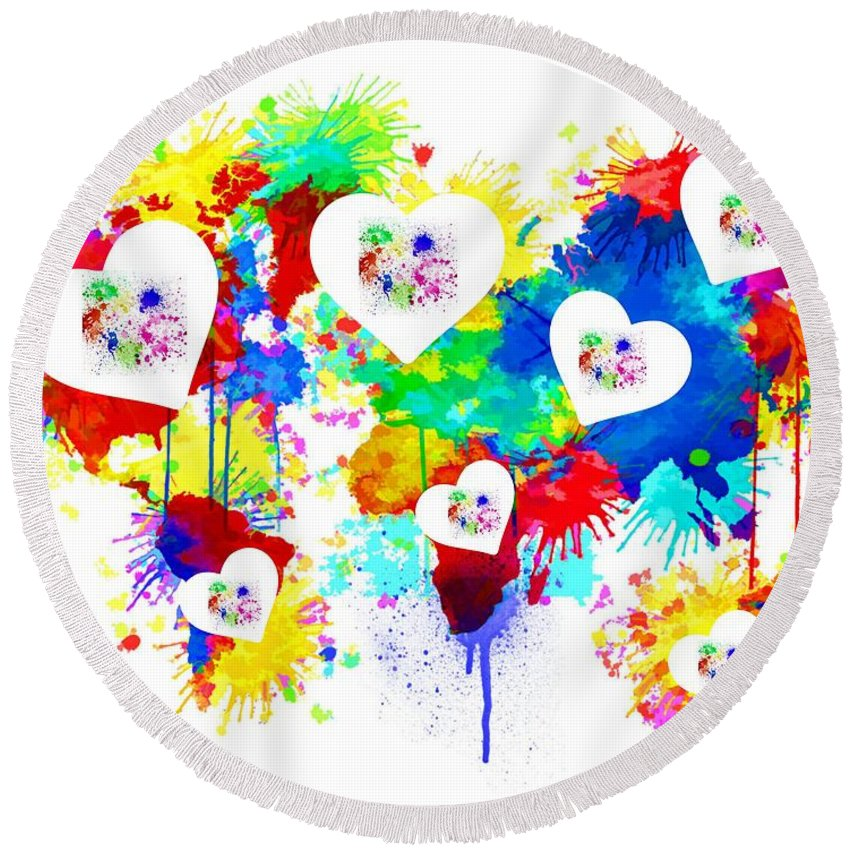 Colorful Round Beach Towel featuring the digital art Colorful Love by Vaso Barbalia