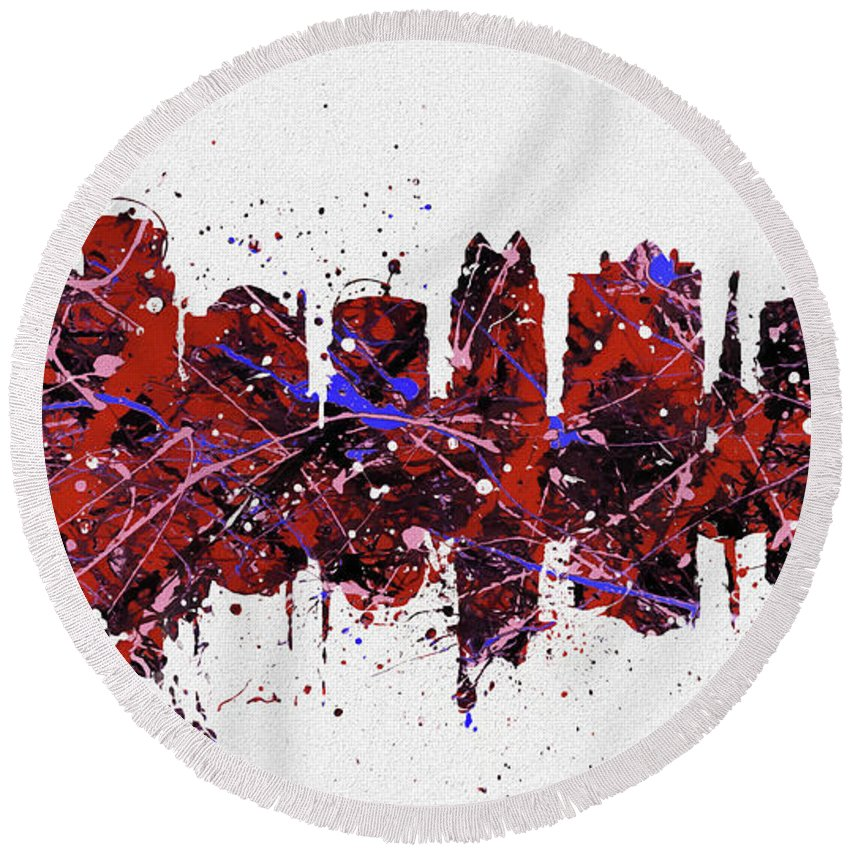 Orlando Colorful Skyline Round Beach Towel featuring the painting Colorful Orlando Florida by Dan Sproul