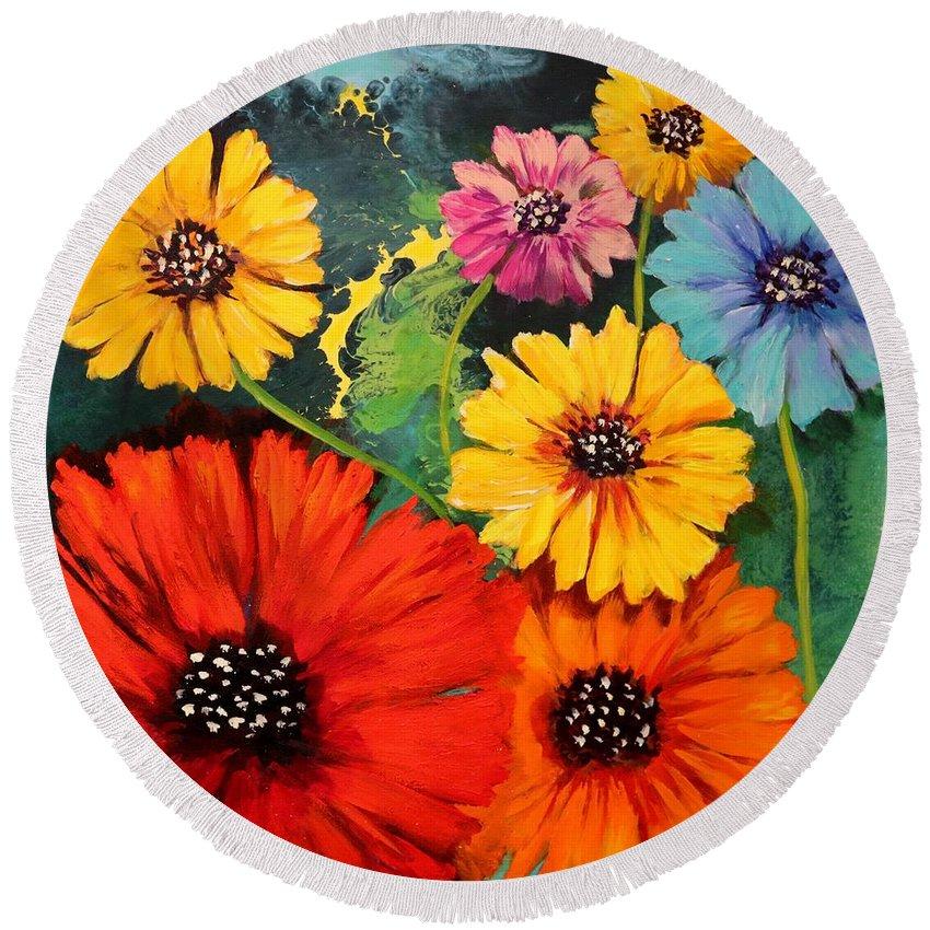 Poppy Round Beach Towel featuring the painting Colorful Poppy Warm No.1 by Carole Sluski