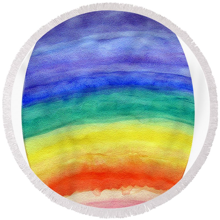Abstract Round Beach Towel featuring the painting Colorful Rainbow Colored Egg by Lee Serenethos