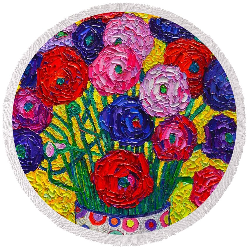 Ranunculus Round Beach Towel featuring the painting Colorful Ranunculus Flowers In Polka Dots Vase Palette Knife Oil Painting By Ana Maria Edulescu by Ana Maria Edulescu