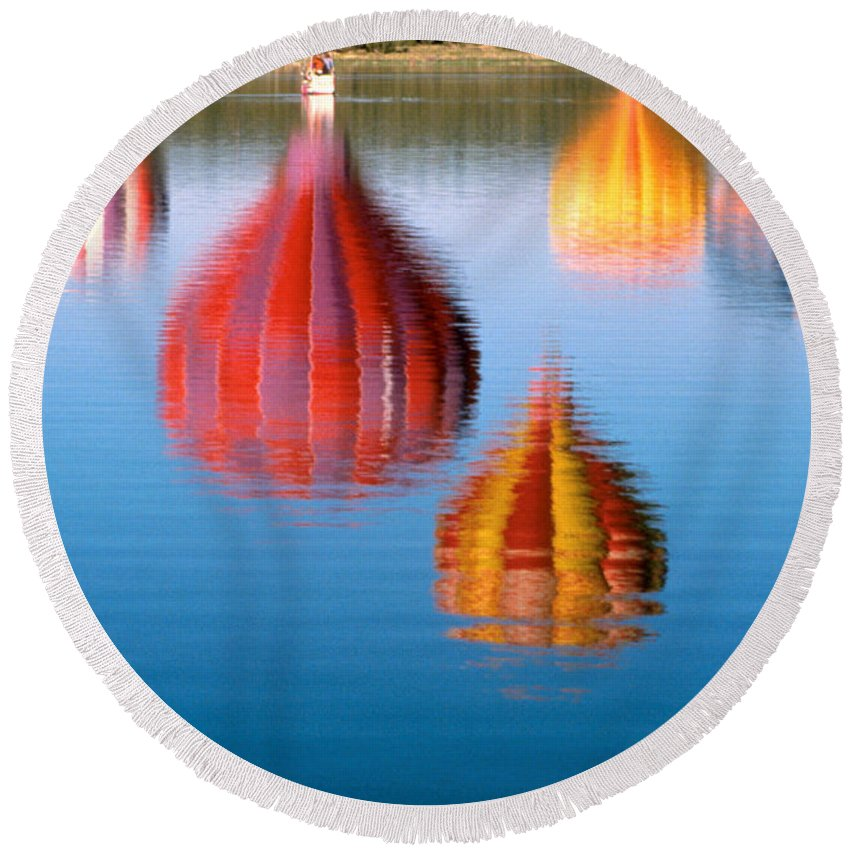 Hot Air Balloons Round Beach Towel featuring the photograph Colorful Reflections by Jerry McElroy