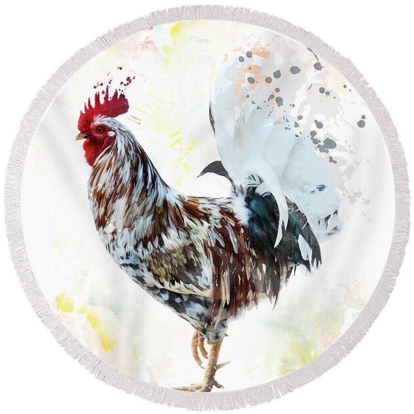 Rooster Round Beach Towel featuring the digital art Colorful Rooster by Svetlana Foote