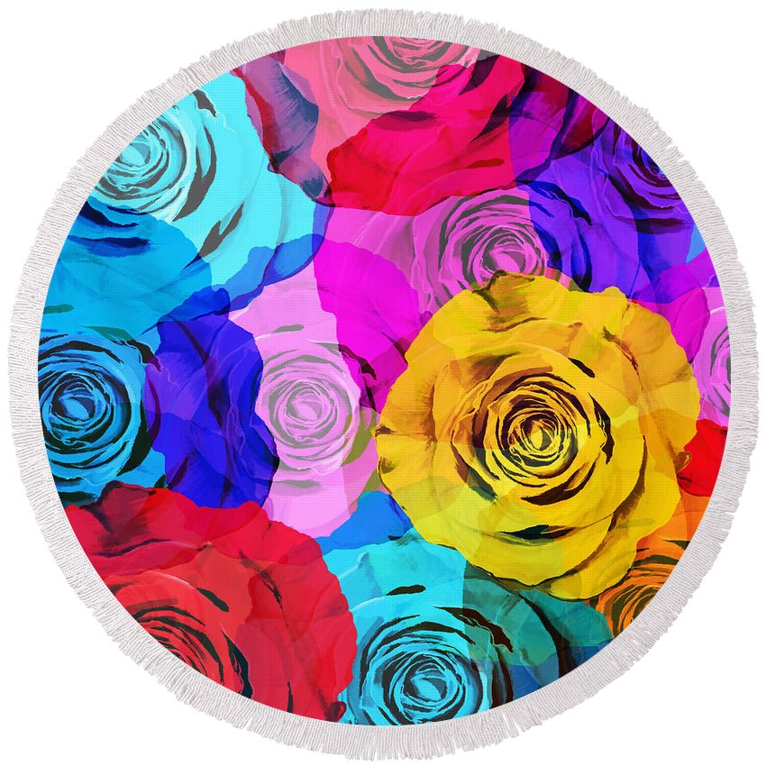 Affection Round Beach Towel featuring the photograph Colorful Roses Design by Setsiri Silapasuwanchai