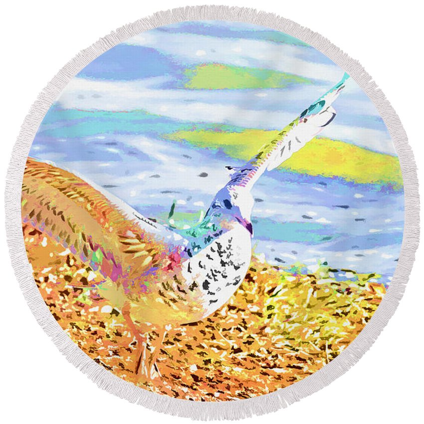 Seagull Round Beach Towel featuring the photograph Colorful Seagull by Deborah Benoit