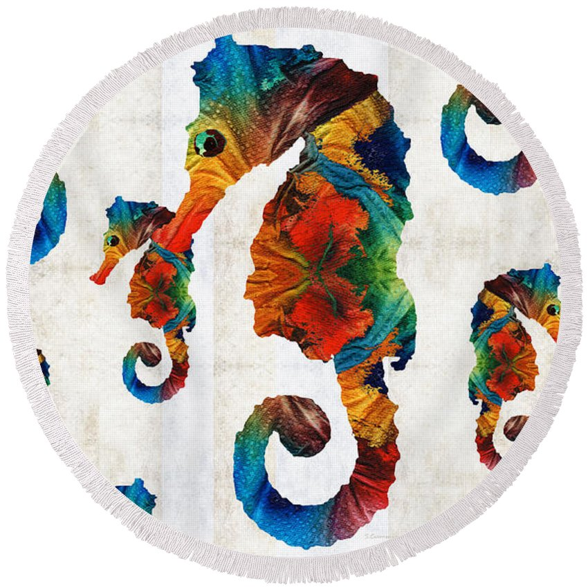 Seahorse Round Beach Towel featuring the painting Colorful Seahorse Collage Art By Sharon Cummings by Sharon Cummings