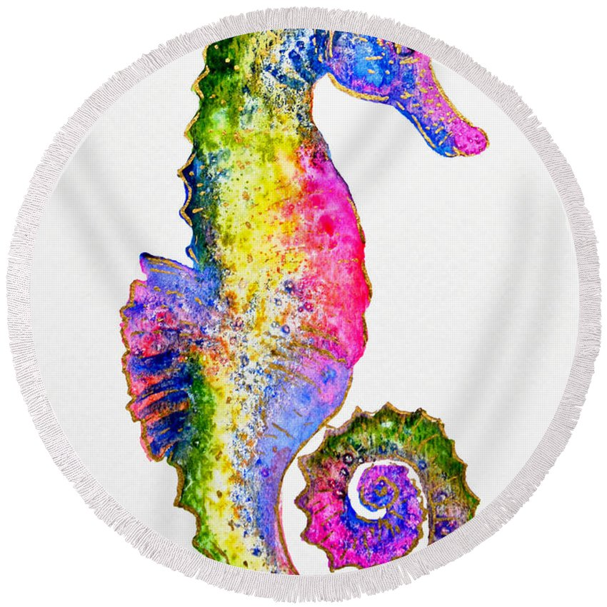 Seahorse Round Beach Towel featuring the painting Colorful Seahorse by Zaira Dzhaubaeva